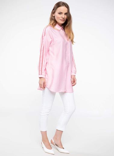 DeFacto Şerit Detaylı Gömlek Tunik Pembe